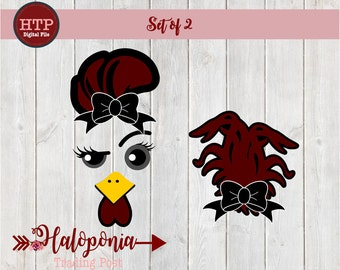 Girl Gamecock Face & Tail with Bow SVG cut File set of 2