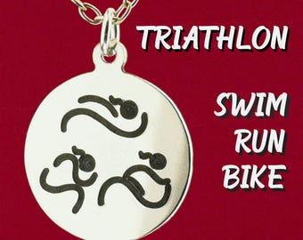 Original Design Triathlon Ponytail Girl Charm Pendant Necklace 925 Sterling Silver Black Hand Enameled Engraved Jewelry Swim, Bike, Run