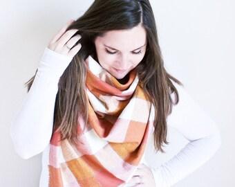 Plaid Flannel Blanket Scarf | Orange Oversized Fringe Wrap | Frayed Edge Rectangle Shawl |White, Cream, Red Orange | The PUMPKIN SPICE Scarf