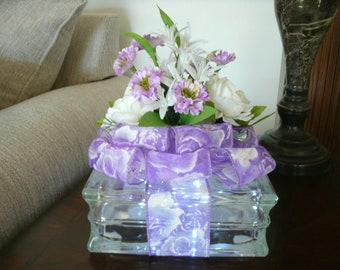 Spring Table Arrangement - Home Decor - Mothers Day Centerpiece - Lighted Glass Block Decorations, Spring Decor, Nightlight. Office Decor,