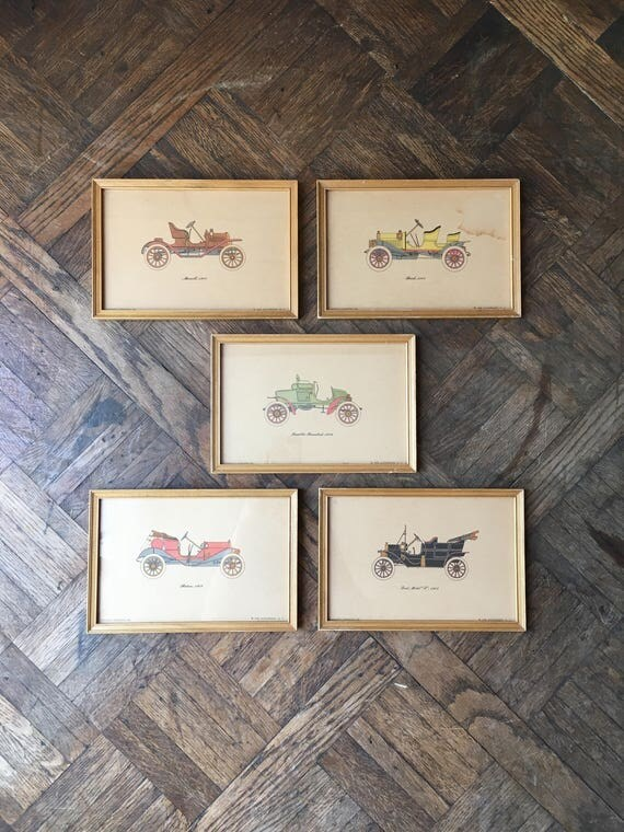 1950s Framed Automobile Prints Of Early 1900s Cars, Vintage Car Art, Model T Print, Car Lover Gift