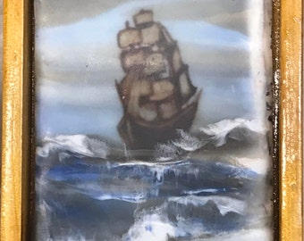Barque no.2,   Miniature ACEO sized encaustic wax painting.  Framed.