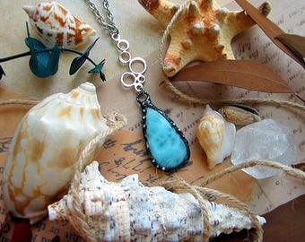 """Necklace """"Caribbean"""" with larimar paired with sterling silver bubbles pendant. Custom length chain."""