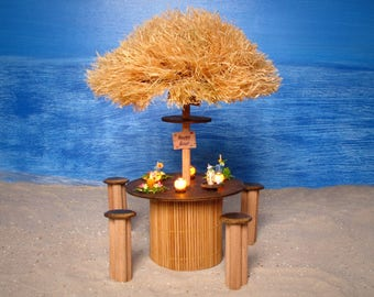 Illuminated Tropical Miniature Happy Hour Beach Bar Table Set for Your Dollhouse