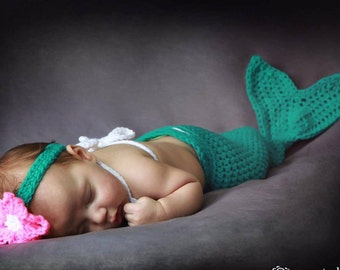 Newborn Mermaid Costume - Newborn Mermaid Outfit - Newborn girl outfit  - under the sea baby shower - newborn costumes - little mermaid