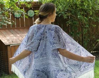 Boho Kimono - Purple Kimono - Paisley Kimono - Kimono Cardigan - Kimono Jacket - Fringe Kimono - Polyester Kimono - Summer Kimono - Cover up