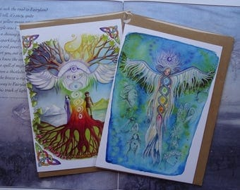 Rainbow Chakra pack of 2 A5 Art Cards