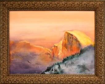 Half Dome, Yosemite National Park, Acrylic on Canvas, Framed, by Brenda Foreman
