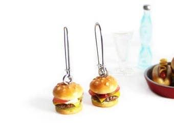Food Earrings,Hamburger,Burger Earrings,Ooak Jewelry,Miniature Collectibles,Stainless Steel,Clay Food,Kawaii Jewellery,Hypoallergenic