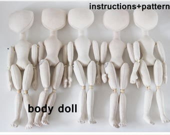 "PDF""Doll on hinges"",body of the doll,Soft Doll PATTERN  Cloth Doll Pattern, Digital Download instructions+pattern. instant download"