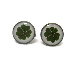 Four leaf clover cufflinks - St patrick leaf - Shamrock cufflinks - Saint patricks day - Green shamrock - Luck cufflinks