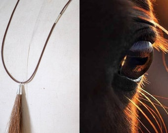 Horsehair jewelry necklace with horsehair tassle custom made