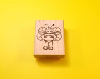 Bumble BEE Kid Wood Mount Rubber Stamp by PEDDLER'S PACK Stampworks 1994