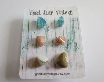 Crystal Earring Set Studs Blue Apatite Agate  Birthday Gift Natural Druzy Gemstones Nickel Free Boho