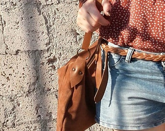 Suede hobo bag / Leather crossbody bag /  Cognac suede bag