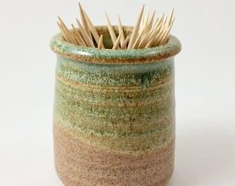 Toothpick Holder, Pottery Toothpick Holder, Green Toothpick Holder, Ceramic Toothpick Holder, Toothpick Dispenser, Green Toothpick Dispenser