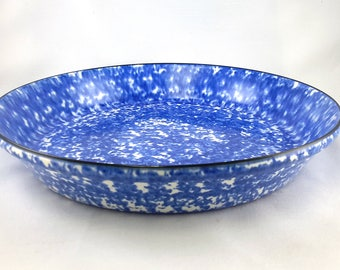 Stangl Pie Plate Town & Country Blue Spatter Spongeware
