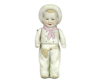 French Vintage Porcelain Cowboy Doll. Porcelain Boy Figurine. Jointed Bisque Mignonette Doll. Collectible Doll.