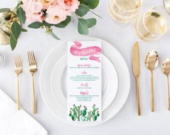 Desert Wedding Menus - Cactus Printable or Printed Wedding Menu Cards