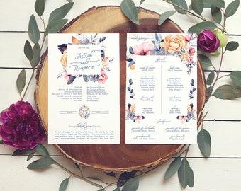 Floral Programs — Boho Wedding Programs for a Garden Wedding — Printable or Printed