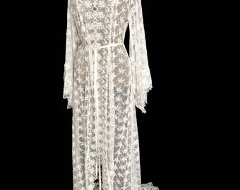 Lace kimono, brides lace kimono, wedding kimono robe, beach wedding kimono, boho lace kimono, beach lace kimono, brides lace robe,