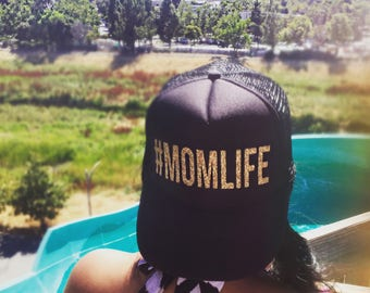 Mom Life Trucker Hat in Gold Sparkle.  Adjustable Baseball Cap for Mother's, Gifts Ideas, Baby Showers, & Celebrations. #MomLife Motherhood