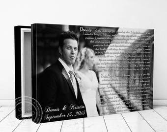 Anniversary Gift, Personalized Wedding Photo, Gallery Wrapped Canvas, First Dance, Wedding Songs, Song Lyrics, Unique Wall Decor