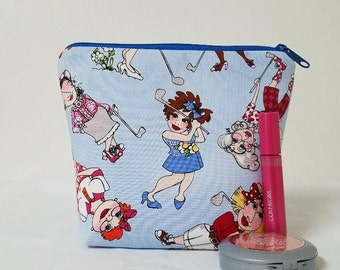 Golf Zipper Pouch, Ladies Golf Cosmetic Bag, Medication Pouch, Toiletry Bag, Golf Make Up Bag, Heavy Padding, Loralie Golf Print, Washable.