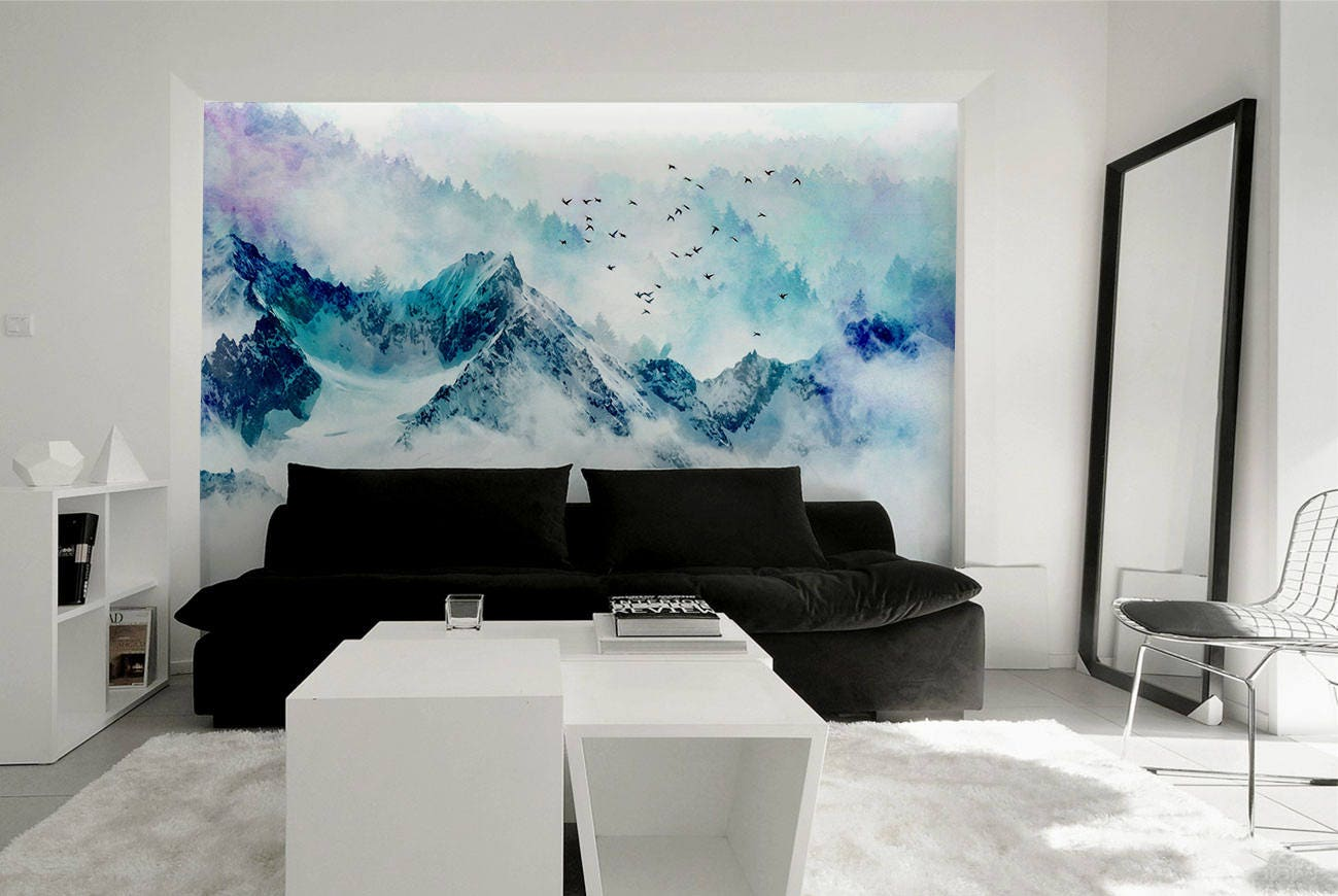 chinoiserie blue mountain landscape wall mural forest with zoom