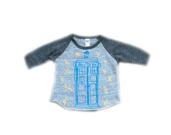 Dr Who Tardis infant Baseball tee-Unisex-tri blend Royal Apparel-tshirt-t shirt-baseball tee-tardis-dr who-the doctor-baby-baby cloth