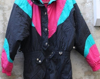 Vintage Fera Ski Suit Women's 1990s 90s Ski Wear Skiing Size Medium Size Large Winter Jacket Ski Jacket Cold Weather Winter Gear Retro Color