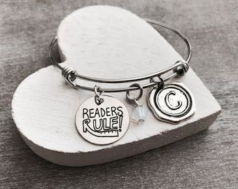 Readers Rule, Book Lover, Book Worm, Book Nerd, Teacher, Librarian, Book Club, Literature, Library, Silver Bracelet, Charm Bracelet, GIFTS