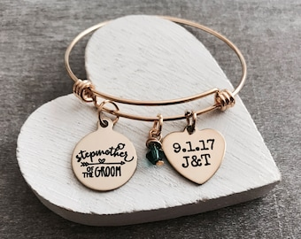 Stepmother of the Groom, Stepmother of Groom, Gold Jewelry, Bridal party, Gold Bracelet, Charm Bracelet, Customized, Personalized, Gifts for