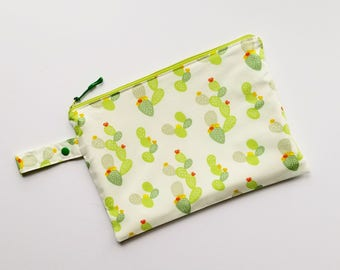 Cactus Wet Bag, Bikini Bag, Diaper Clutch, Kids Wet Bag, Reusable Produce Bag, Bathing Suit Bag, Eco Friendly, Food Safe, Succulent, Nopal