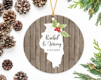 Illinois State Ornament, Illinois Christmas Ornament, Personalized Family Ornament, Wedding Ornament