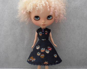 Blythe Dress ~ Navy Owl Circle Skirt Dress Pure Neemo S Licca Pullip Blythe Clothes Outfit