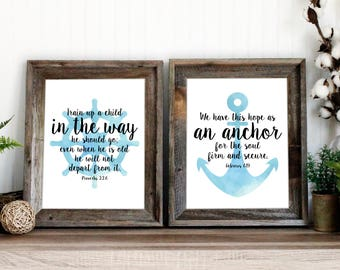 Nautical Nursery Baby Shower Decor Wall Art | Proverbs 22 and Hebrews 6:19 Bible Verse Art | Watercolor Scripture print | instant download
