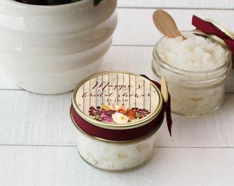 Set of 12- 4 oz - Sugar Scrub Favors - All-Natural - Rustic Fall Bridal Shower Label | Fall Bridal Shower Favor | Fall Baby Shower Favor