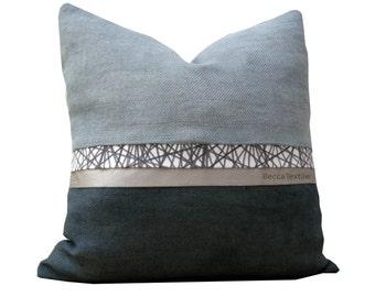 Grey pillow,Natural fabric pillow by BeccaTextile.