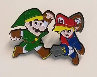 Super Mario Brothers, Legend of Zelda, Mario enamel pin, Legend of Zelda enamel pin, Collectable