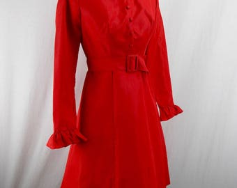 1960's Red Taffeta Dress Mint Condition
