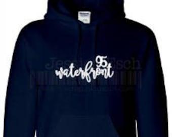 Waterfront 95 Custom Designed Sweatshirt~ Script Lettering