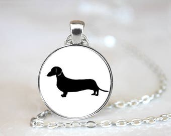 Dachshund Silhouette Pendant Necklace Jewelry Handcrafted Made to Order One Inch Pendant