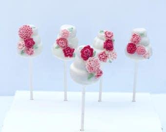 Cake Pop Wedding Cakes (1 dozen mini wedding cake, cake pops)