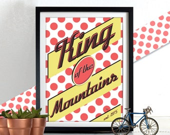 King of the Mountains Tour De France Bicycle Bike Poster Wall Art Print Home Décor cycling bicycle jersey polka dot