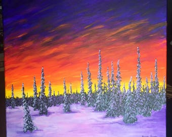 Abstract Snowy Forest Painting on Canvas