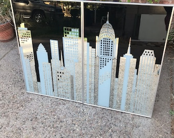 Vintage Two Panel Mirror Cityscape Skyline Skyscrapers Chrysler Building
