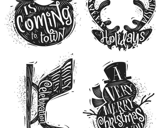 Tim Holtz CARVED CHRISTMAS #3 Holiday Christmas Cling-Mount Rubber Stamp Set by Stampers Anonymous CMS315