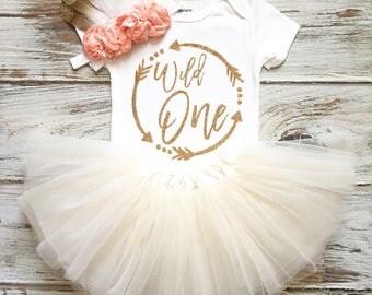 Wild One Birthday Girl- Wild One Birthday- Wild One Birthday Outfit- Wild One Shirt- Boho Birthday Girl- 1st Birthday Girl Outfit Ivory Tutu