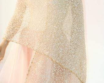 Gold knitted shrug/ Wedding shawl bolero shrug//Bolero jacket/Lace shrug/Bridal shoulders cover/Bridesmaids Cover up Bolero
